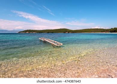 Avlaki beach - very nice, pebbly beach with crystal clear water. Corfu, Greece.