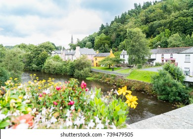 Avoca River flowing through township of Avoca pretty small town in  Wicklow County, Ireland