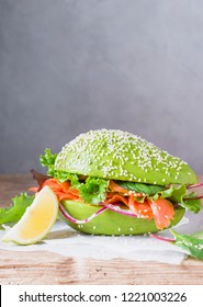 Avocado burger healthy raw food text space.