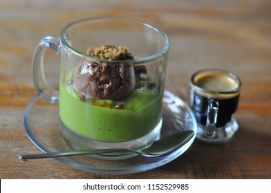 Avocado Cappucino is a kind of beverage content of avocado blended, chocolate ice cream and cappucino.