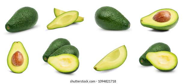 Avocado collection isolated on white background