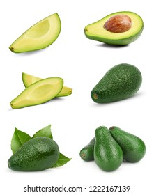 Avocado collection isolated on white background. Avocado collection