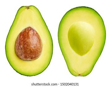 Avocado collection isolated on white. Avocado half Clipping Path. Avocado studio macro shooting