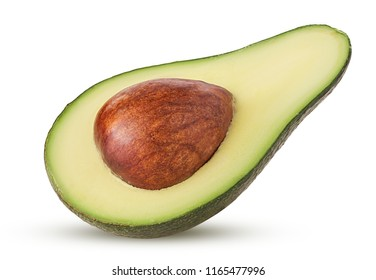 Avocado cut in half with bone isolated on white background Clipping Path. Full depth of field.