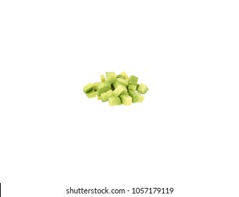 Avocado dices on white background