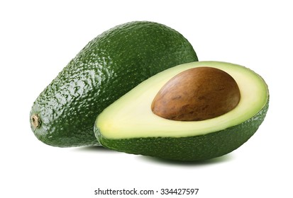 Avocado double set seed isolated on white background as package design element