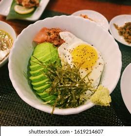 avocado egg fried spawn of pollack