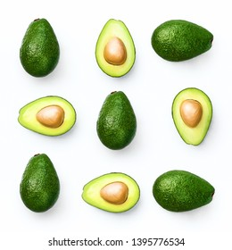 Avocado food concept on white background. From top view. Square pattern
