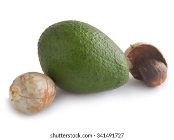 avocado fruit and brown seed