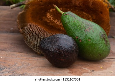 avocado fruit with honeycomb on table wood and  nature background