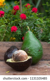 avocado fruit on table wood on nature background