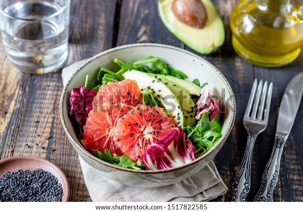 Avocado and grapefruit salad. Healthy eating. Vegetarian food. Diet Recipes