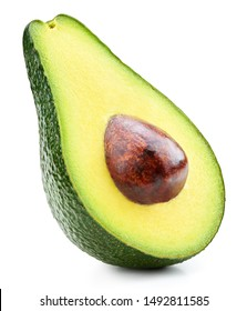 Avocado half isolated on white background. Ripe fresh green avocado Clipping Path