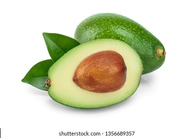 avocado and half with leaves isolated on white background close-up