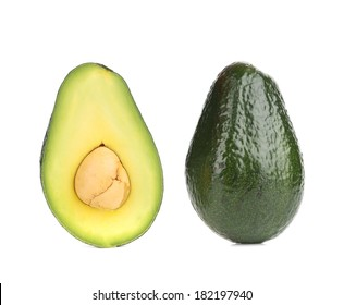 Avocado halves. Isolated on a white background.