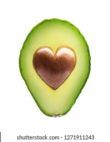 Avocado with heart shape seed isolated on a white background