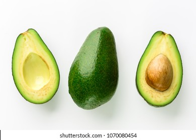 Avocado isolated on white background, closeup of avocados, top view