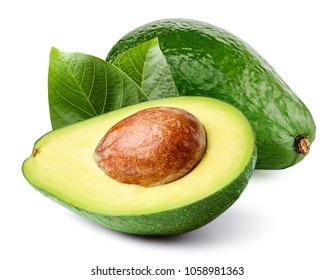 Avocado with leaf isolated on white Clipping Path