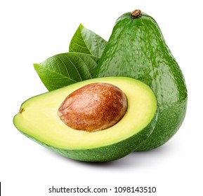 Avocado with leaf isolated on white