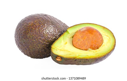 Avocado with leaf isolated on white background