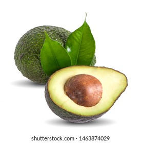 Avocado with avocado leaf isolated on a white background
