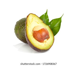 Avocado with leaf an isolated on white Clipping Path.