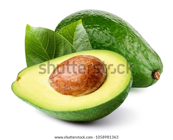 Avocado with leaf isolated on white Clipping Path. Professional food photography