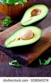 Avocado and lettuce leaves. Healthy food. Diet