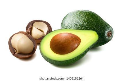 Avocado and macadamia in nutshell isolated on white background. Package design element with clipping path