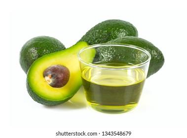 avocado oil isolated on white