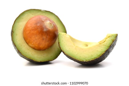 Avocado On White Background With Clipping Path