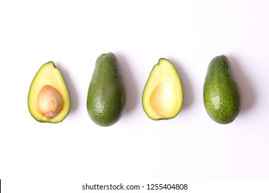avocado on white background with shadow
