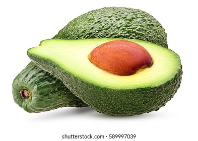 Avocado one cut in half with bone isolated on white background