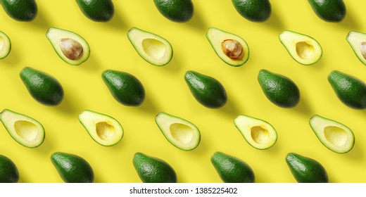 Avocado pattern on yellow background. Pop art design, creative summer food concept. Green avocadoes, minimal flat lay style. Top view. Banner