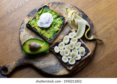 Avocado and poached egg on toast with Vegemite and banana with vegemite on Toast