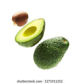 Avocado with seed isolated on a white background