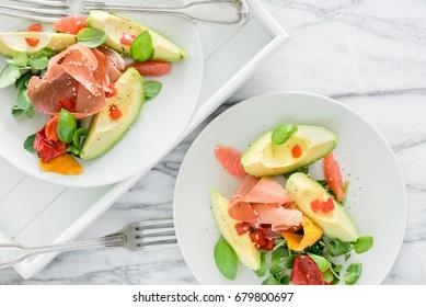 Avocado and serrano ham salad.