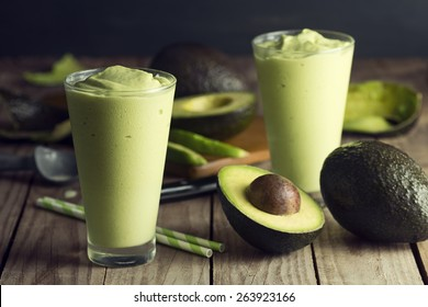 Avocado Shake or Smoothie, Made with Fresh Avocados and Vanilla Ice Cream or Non Dairy Milk and Ice