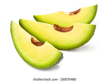 avocado slices against white background