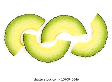 Avocado slices isolated on white background, top view.