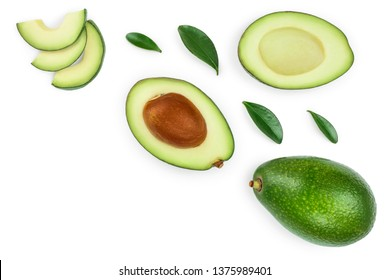 avocado and slices isolated on white background with copy space for your text. Top view. Flat lay