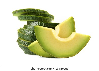 Avocado slices isolated on white