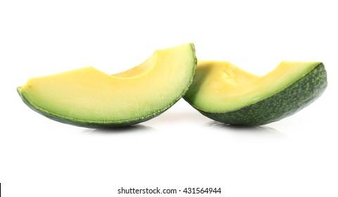 Avocado slices isolated on white