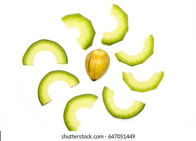 The Avocado slices isolated on white background