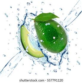 avocado splash isolated on white background