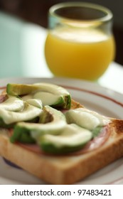 Avocado toast and orange juice