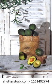 Avocado in a woven basket