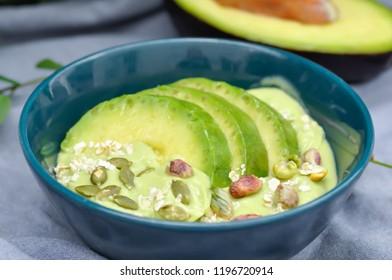avocado yogurt or blended avocado with pistachio and avocado topping