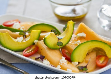 Avocado,Melon and Goat cheese  salad