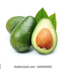Avocados isolated on white backgrounds.